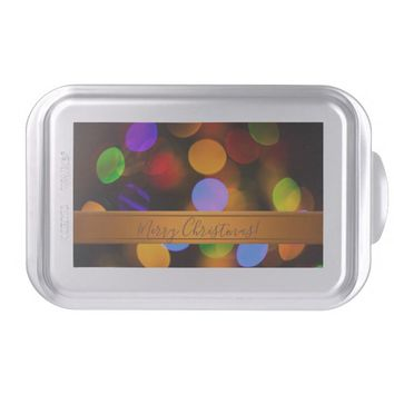 Multicolored Christmas lights. Add text or name. Cake Pan