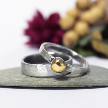Hammered Sterling Silver 24K Keum-boo Ring/ Rustic Oxidized Silver Stacking Ring/ Simple Ring/ Silver Ring/ Keum-boo ring/ Engagement Ring