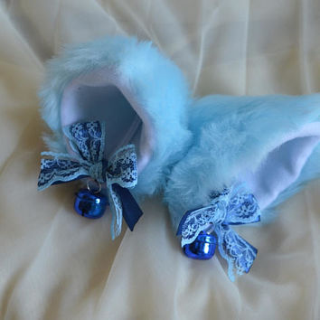 Kitten play clip on cat ears with ribbon bows and bells - neko lolita cosplay costume - kitten play gear accessories - dark and baby blue