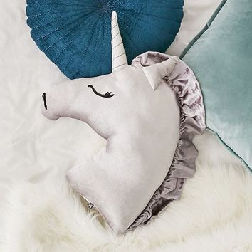 Velvet Unicorn Throw Pillow | Urban Outfitters