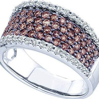 Cognac Diamond Ladies Fashion Bridal Ring in 14k White Gold 1.28 ctw