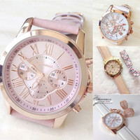 New Women's Fashion Geneva Roman Numerals Faux Leather Analog Quartz Wrist Watch = 1956408900