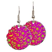 ABSTRACT PATTERN ON RED EARRING