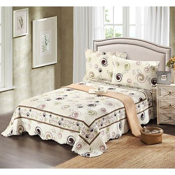Tache 3 Piece Cotton White Modern Summer Storm Bedspread Quilt Set (DSW019)
