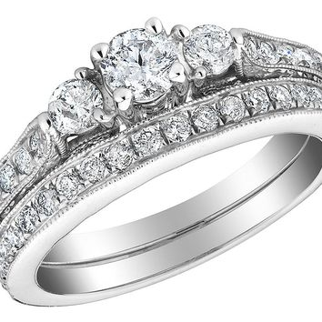 Three Stone Diamond Engagement Ring and Wedding Band Set 1.0 Carat (ctw) in 10K White Gold