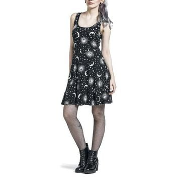 2018 Summer Backless Women Dress Punk Rock Fashion Sun Moon Star Printing Sleeveless Black Gothic Dresses