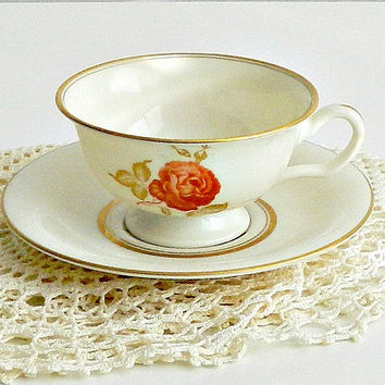 Vintage China Teacup, Castleton China, 1960s, Teacup with Orange Rose.