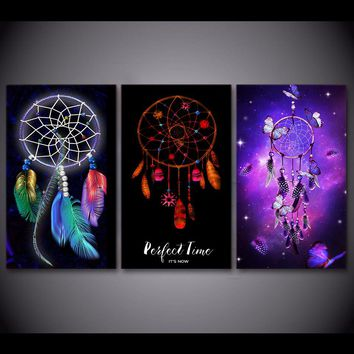 *HD print 4pcs Sai Dreamcatcher painting canvas art home decor print Native American Feathers canvas wall art picture /PT1319
