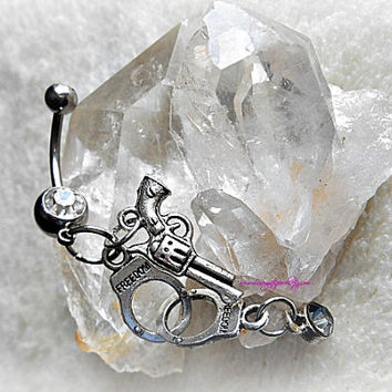 Gun and Hand Cuffs Belly Ring, Hipster, Navel, Bellybutton, Belly Bling, Piercing, Ready to Ship, Direct checkout