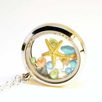 Beach Seashell Starfish Necklace Glass Locket Pendant