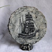 Mt Saint Helen's Clipper Ship Plaque, Shapes of Clay Volcanic Ash Scultured Stone Pottery Art, Handmade Vintage History Nautical Plate
