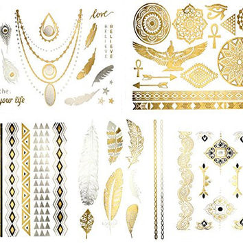 Beautiful Metallic Tattoos - Over 50+ Stylish Designs - Silver, Black, and Gold Temporary Metallic Tattoos. Stylish Fake Shimmer Jewelry Including Bracelets, Necklaces, Feathers, Doves, Dreamcatcher, Arrows, Stars and More! (Azalea Collection)
