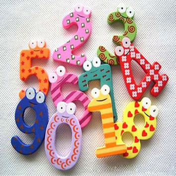 2.4'' Set of 10 Number Cartoon Educational Toy Wooden Fridge Magnet for Baby Kid