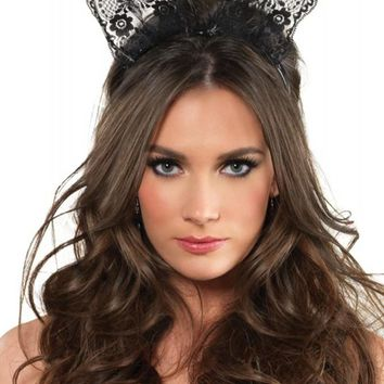 Scalloped Lace Bunny Ears in Black