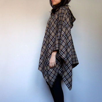 80s Hooded Cape Coat Plaid Fall Brown Black Ivory Wool Cape Cloak Poncho Hood - One Size Fits Most