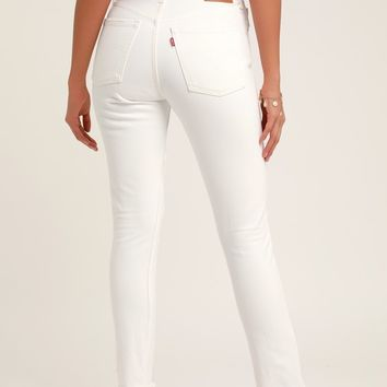 501 Skinny White High Rise Jeans