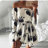 Print Sexy Backless One Piece Dress [11293718415]