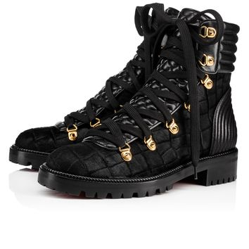 Mad Boot Flat Black Pony - Women Shoes - Christian Louboutin
