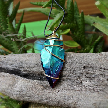 Large Arrowhead Necklace - Leather Jewelry for Men - Rainbow Arrowhead Jewelry - Titanium Aura Quartz Necklace - Leather Necklace for Men