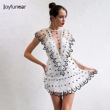 Joyfunear 2017 Women Dress Sexy V Neck Yarn Fashion Evening Party Dresses Elegant Ruffle Vestido De Festa Lady Vestidos Mujer