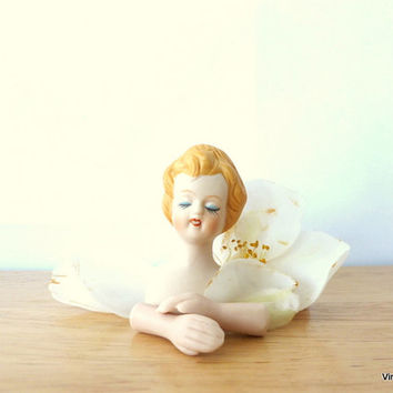 Vintage Porcelain Doll Parts Womans Bust and Hands Mangelsen's Doll Supplies Strawberry Blonde Red Head Ceramic Doll Head Altered Art Supply