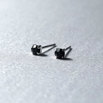 Mini Black CZ Stud Earrings - Sterling Silver Studs 3mm - Simple Minimalist Everyday Jewelry LITTIONARY