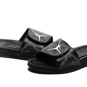 PEAPGE2 Beauty Ticks Nike Jordan Hydro V Retro Black Sandals Slipper Shoes Size Us 7-11