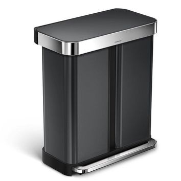 58 Liter Dual Compartment Rectangular Step Stainless Steel Trash Can with Liner Pocket
