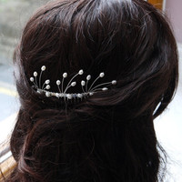 freshwater ivory rice pearl silver hair comb pin for wedding or prom, waves and sprays, bridal