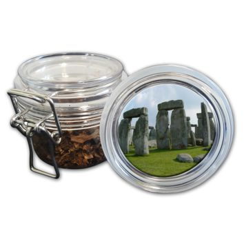 Airtight Stash Jar with Silicone Seal - Stonehenge - Food-Grade Plastic with Locking Wire Top - Smell Proof Hermes Container