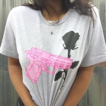 Pistol and Rose T-Shirt