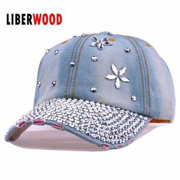 Lady Fashion Denim Crystal Flower Jean Denim Distressed Baseball Cap Hat Shining Bling Hat Curved Ball Cap Women Summer Hats