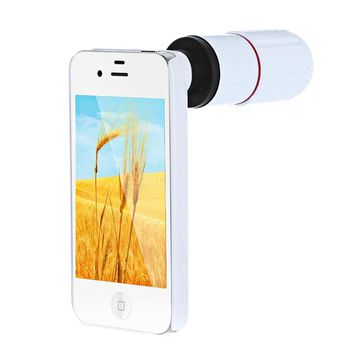 clearance 8X Magnification Mobile Phone Telescope Magnifier Optical Camera Lens with Tripod + Holder + Case for iPhone 4s White
