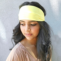 Light Yellow  Headwrap Hippie Headband Workout Headwrap Yellow Hair Accessories Bohemian Headband