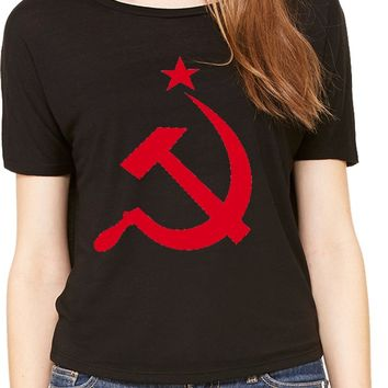 Buy Cool Shirts Ladies Soviet Union T-shirt Red Hammer and Sickle Open Back Tee