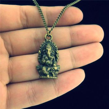 Bronze Alloy Ganesha Faith Pendant ~ Obstacle Remover ~