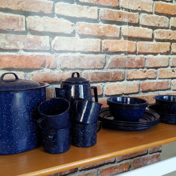 Enamelware Set, Pots and Pans, Coffee Percolator Plates, Mugs and Bowls, Blue Speckled Set, Camping Dishes, Graniteware FREE US Shipping