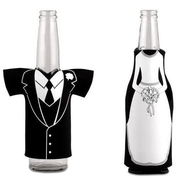 Bride Or Groom Koozie Bottle Holder Favor