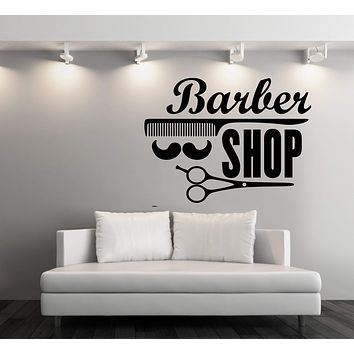 Large Vinyl Decal Wall Stickers Barber Shop Badges Tools Hair Salon Sign (n857)