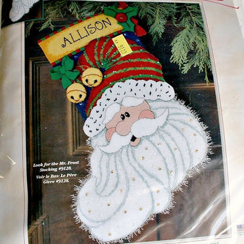 Dimensions Santa Sparkle Needlepoint  Christmas Stocking Kit # 9133  16 Inches Long