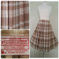 The TAWNY TAN Skirt Vintage 1970's PENDLETON 100% Wool Tan Cream Gray Plaid Box Pleat Accordian Pleat Skirt Petite Size Small S/P 6P 8P