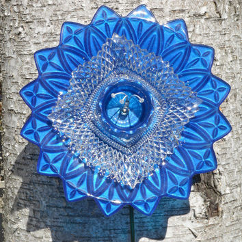 Glass Home Decor, Bright Blue Flower, Open Flower, Floral Botanical , Repurposed Art, Woodland Art Flower, Glass Garden, Sky Blue Flower