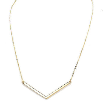 Gold Skinny Chevron Arrow Bar Pendant Necklace V Shape Necklace