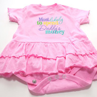 Embroidered Cotton Romper Dress Creeper Most likely to Spend Daddy's Money Size 12-18 mths