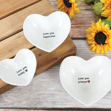 Love You Always Heart-Shaped Nesting Bowls