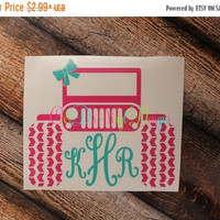 3 DAY SALE Monogrammed Jeep Decal - Jeep Decal - Monogram Jeep Decal - Jeep Girl Decal - Jeep - Monogram Car Decal - Monogram Jeep Car Decal