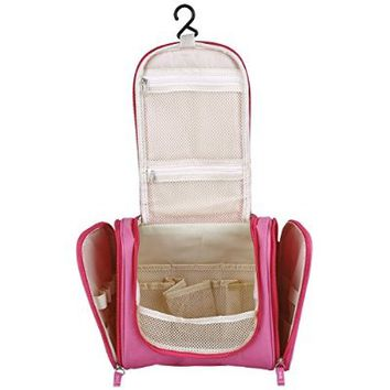 Molain Makeup Organizer Hanging Bathroom Storage Travel Knit Toiletry Bag Cosmetic and Makeup Bags (Fuchsia)