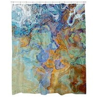 Contemporary decorative fabric shower curtain, blue, blue-green, orange and brown art shower curtain, Bridge