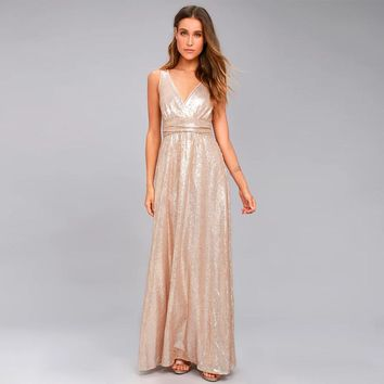 Sexy party solid color full sequined backless  woman's Casual long dress