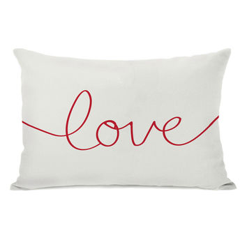 Love Mix & Match Holiday - Ivory Red Throw Pillow by OneBellaCasa.com